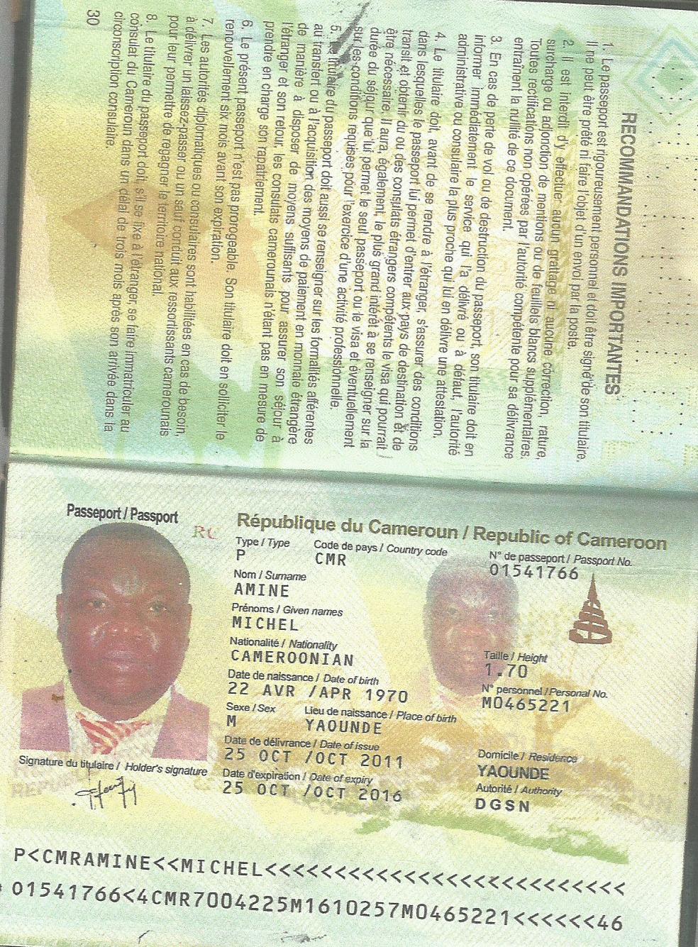 passeport_camerounais_Michel_Amine
