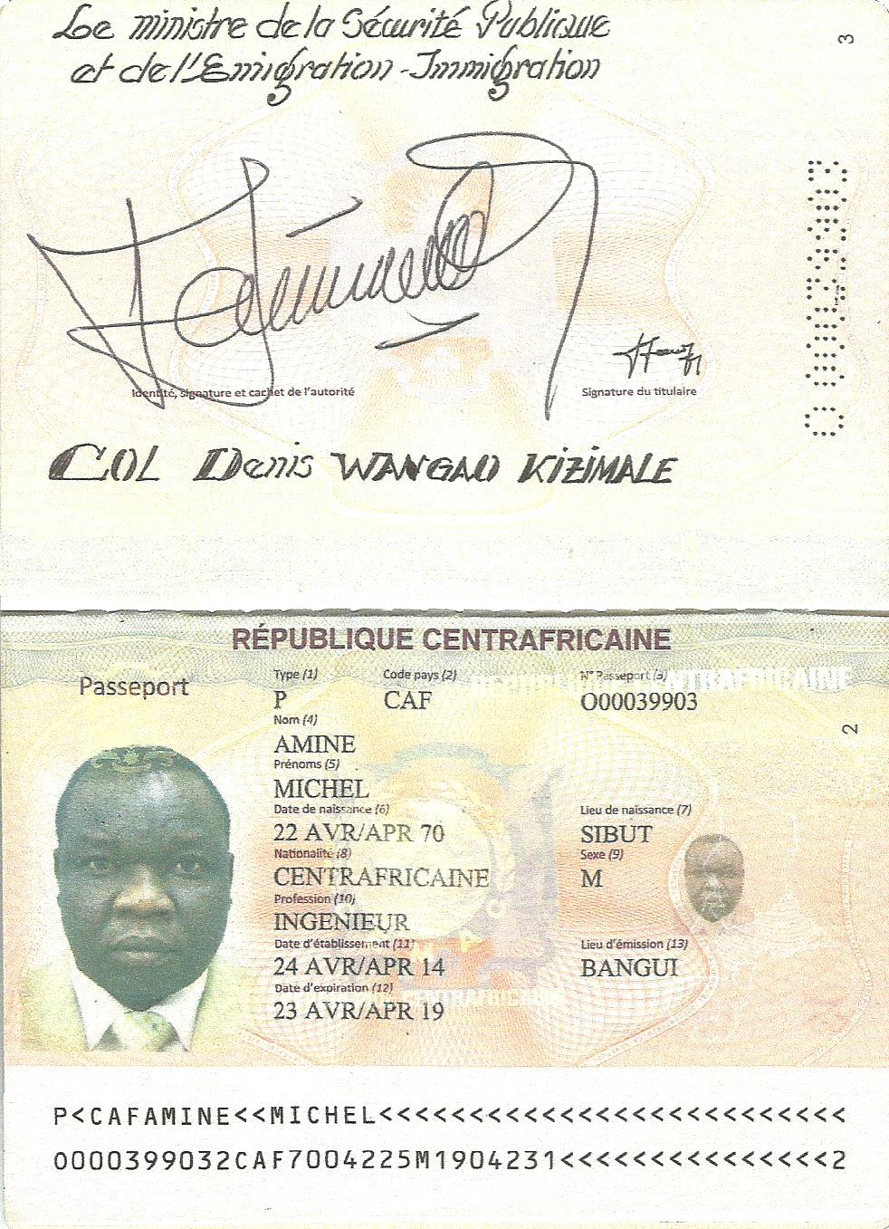 passeport_centrafricain_Michel_Amine